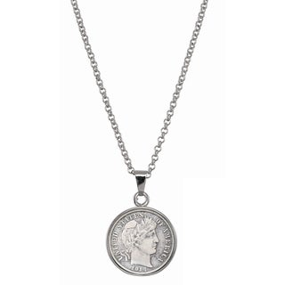 American Coin Treasures Silver Barber Dime Silvertone Necklace