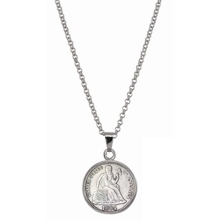 American Coin Treasures Seated Liberty Silver Dime Silvertone Necklace