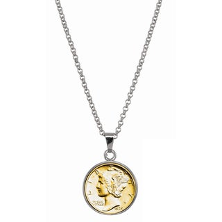 American Coin Treasures Gold-Plated Silver Mercury Dime Silvertone Necklace