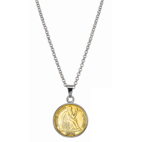 American Coin Treasures Gold-Plated Seated Liberty Silver Dime Silvertone Necklace