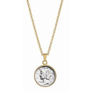 American Coin Treasures Silver Mercury Dime Goldtone Necklace