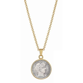 American Coin Treasures Silver Barber Dime Goldtone Necklace