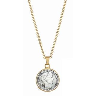 American Coin Treasures 1800s Silver Barber Dime Goldtone Necklace