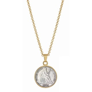 American Coin Treasures Seated Liberty Silver Dime Goldtone Necklace