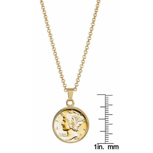 MERCURY DIME GOLD FILLED PENDANT NECKLACE