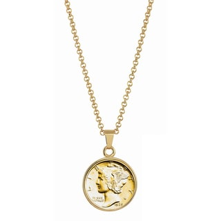 American Coin Treasures Gold-Plated Silver Mercury Dime Goldtone Necklace