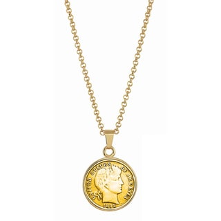American Coin Treasures Gold-Plated 1800s Silver Barber Dime Goldtone Necklace