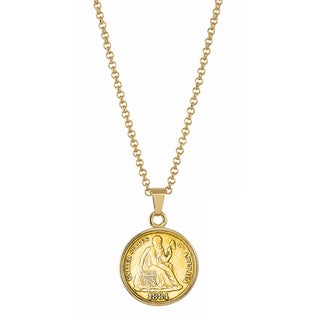 American Coin Treasures Gold-Plated Seated Liberty Silver Dime Goldtone Necklace