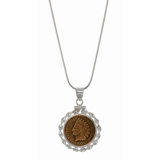 American Coin Treasures Sterling Silver Ribbon Style Pendant with Genuine Indian Penny