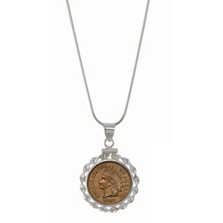 American Coin Treasures Sterling Silver Ribbon Style Necklace with Genuine Civil War Indian Penny