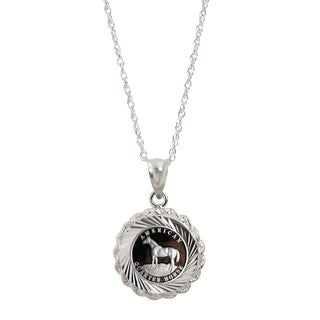 American Coin Treasures Sterling Silver American Quarter Horse Medallion Pendant