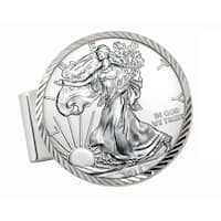 American Coin Treasures Sterling Silver American Silver Eagle Dollar Diamond-cut Money Clip