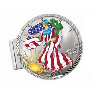 American Coin Treasures Sterling Silver Colorized American Silver Eagle Dollar Diamond-cut Money Cli