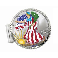 American Coin Treasures Sterling Silver Colorized American Silver Eagle Dollar Diamond-cut Money Cli