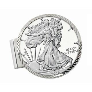 American Coin Treasures Sterling Silver Proof American Silver Eagle Dollar Diamond-cut Money Clip