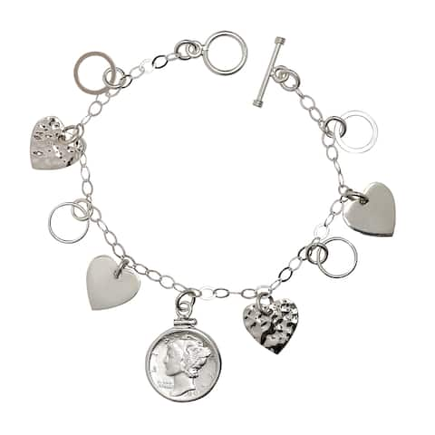 American Coin Treasures Sterling Silver Heart Charm Silver Mercury Dime Bracelet