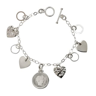 American Coin Treasures Sterling Silver Heart Charm Silver Barber Dime Bracelet