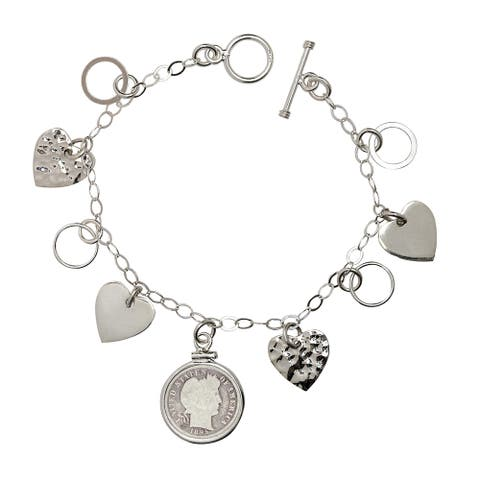 American Coin Treasures Sterling Silver Heart Charm 1800s Silver Barber Dime Bracelet