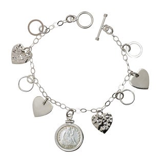 American Coin Treasures Sterling Silver Heart Charm Silver Seated Liberty Dime Bracelet