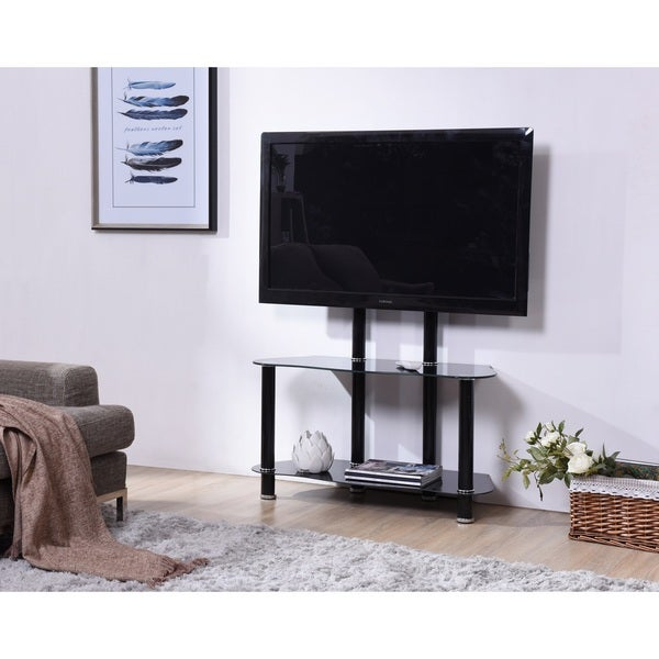 Shop Hodedah Glass Tv Stand With Mount Free Shipping Today