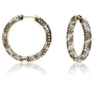Estie G 18k Yellow Gold 6 3/5ct TDW Brown and White Diamond Hoop Earrings