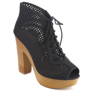 Qupid Active-11 Women's Cut Out Chunky Heel Lace Up Platform Heels