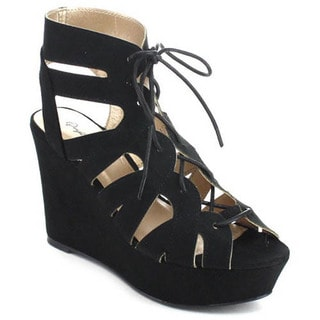 Qupid Ardor-44 Women's Caged Lace Up Cut Out Platform Wedge