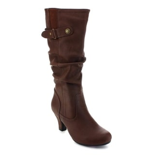De Blossom Collection Brand-39 Women Slouchy Elastic Under Knee High Dress Boots