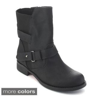 De Blossom Collection Women's Side Zip Moto Boots