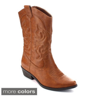 De Blossom Collection Jamee-1 Women's Mid-calf Western Style Cowboy Boots