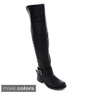De Blossom Collection Renee-11 Women Buckle Strap Side Zip Knee High Riding Boot