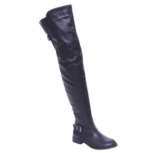De Blossom Collection Renee-13 Women Buckle Side Zipper Thigh High