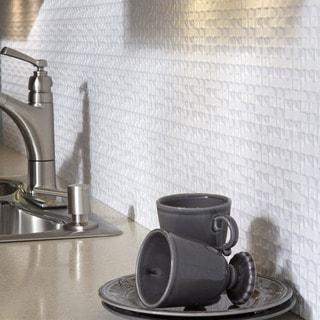 Fasade Terrain Matte White Backsplash 18 Inch X 24 Inch Panel