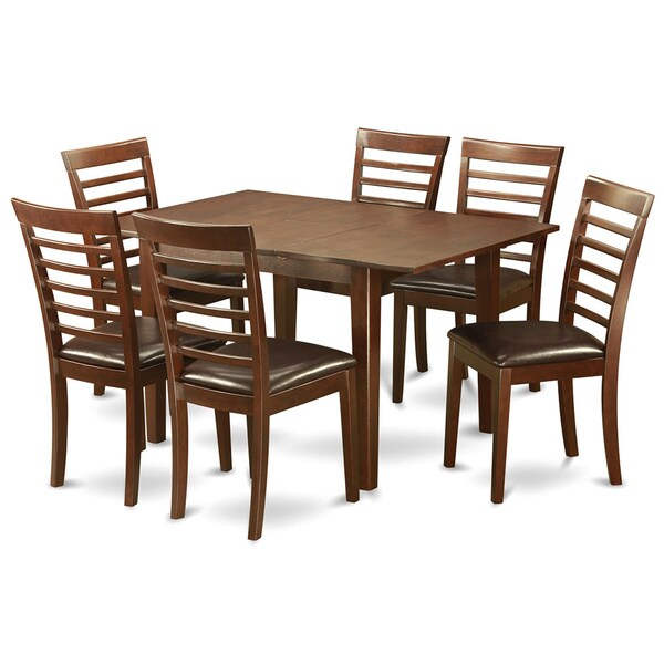 7 Piece Kitchen Nook Dining Set Breakfast Nook And 6 Dining Chairs In  Mahogany