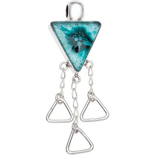 Kele & Co Caribbean Blue Dichroich Glass and Sterling Silver Pendant