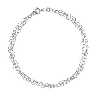 Sterling Silver Double Strand Heart Chain Anklet