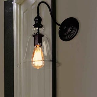 Black wall lights for less overstock mildred 1 light clear glass edison wall lamp with bulb aloadofball Gallery