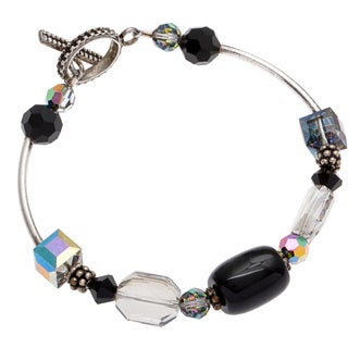 Kele & Co .925 Sterling Silver Black Onyx and Austrian Crystal Bracelet