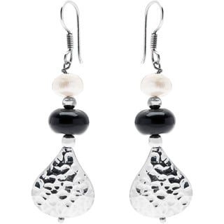 Kele & Co .925 Sterling Silver Pearl and Black Onyx Earrings