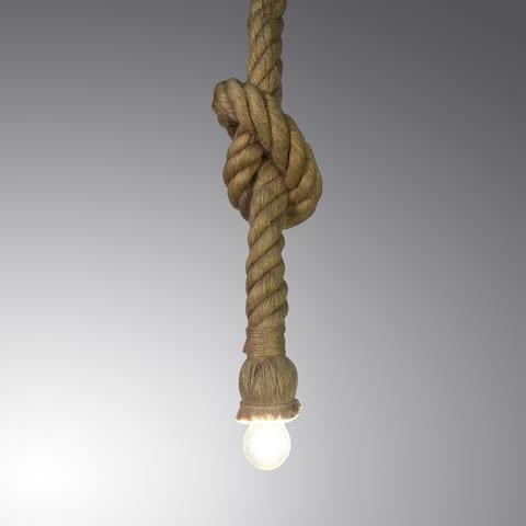 Hailey 1-light Hemp Rope 100-inch Edison Pendant with Bulb