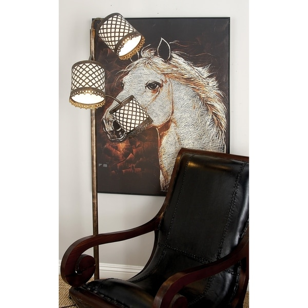 Eclectic 70 Inch Iron and PVC Three-Arm Floor Lamp by Studio 350