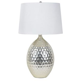 Silver Hammered Ceramic table lamp