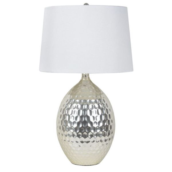 Shop Silver Orchid Olivia Silver Hammered Ceramic Table Lamp Free
