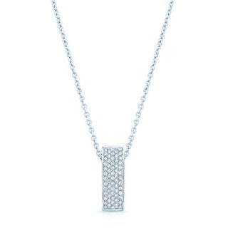 Estie G 18k White Gold 1/2ct TDW Diamond Curved Bar Pendant (H-I, VS1-VS2)