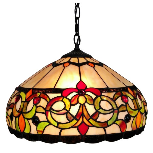 amora lighting tiffany style floral pendant hanging lamp free. Black Bedroom Furniture Sets. Home Design Ideas
