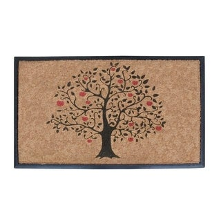 First Impression Rubber and Coir Large 30 x 48-inch Double Doormat with Tree Design