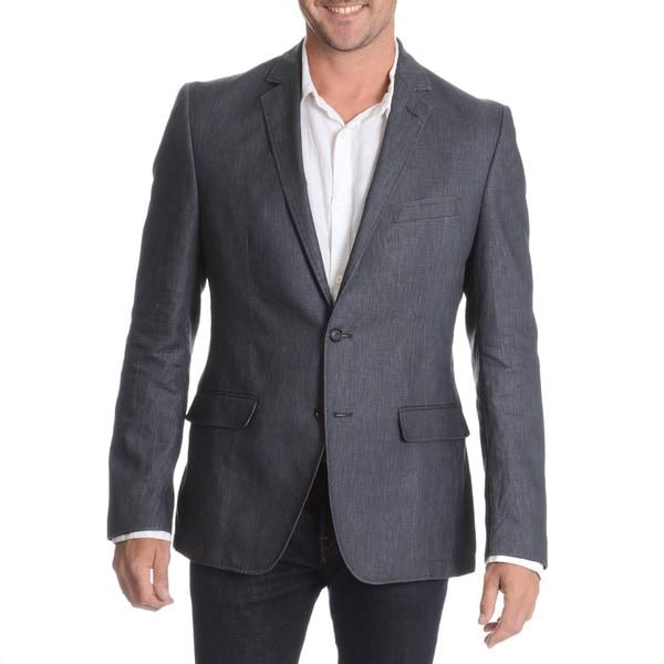 Daniel Hechter Men's Navy Garment Wash Linen Sport Coat - Free ...