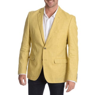 Daniel Hechter Men's Lemon Garment Wash Linen Sport Coat