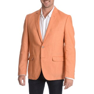 Daniel Hechter Men's Orange Garment Wash Linen Sport Coat