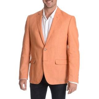 Daniel Hechter Men's Orange Garment Wash Linen Sport Coat (Option: Orange)